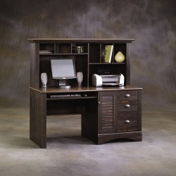 Sauder® Harbor View Collection Computer Desk With Hutch, Antiqued Paint