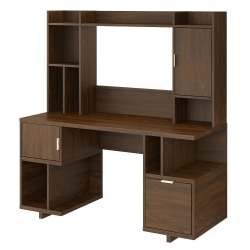 """kathy ireland® Home by Bush Furniture Madison Avenue 60""""W Computer Desk With Hutch, Modern Walnut, Standard Delivery"""