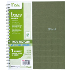 "Mead® 100% Recycled Notebook, 3-Hole Punched, 8 1/2"" x 11"", 1 Subject, College Ruled, 80 Sheets, Assorted Color (No Color Choice)"