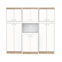 """Inval Galley 3-Piece Kitchen Storage Cabinet System, 66-13/16""""H x 70-7/8""""W x 14-1/2""""D, White/Vienes Oak"""