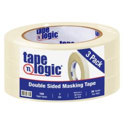 "Tape Logic® Double-Sided Masking Tape, 3"" Core, 0.75"" x 108', Tan, Case Of 3"