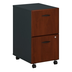"Bush Business Furniture Office Advantage 23-3/10""D Vertical 3-Drawer Mobile File Cabinet, Hansen Cherry/Galaxy, Standard Delivery"