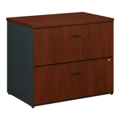 "Bush Business Furniture Office Advantage Lateral File Cabinet, 36""W, Hansen Cherry/Galaxy, Standard Delivery"