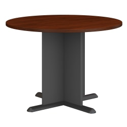 "Bush Business Furniture Round Conference Table 42""W, Hansen Cherry/Graphite Gray, Standard Delivery"