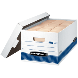 """Bankers Box® Stor/File™ Medium-Duty Storage Boxes With Locking Lift-Off Lids And Built-In Handles, Letter Size, 24"""" x 12"""" x 10"""", 60% Recycled, White/Blue, Case Of 4"""