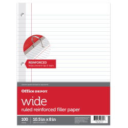 """Office Depot® Brand Reinforced Filler Paper, 8"""" x 10 1/2"""", 16 Lb, Wide Ruled, White, Pack Of 100"""