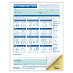 "ComplyRight™ 2021 Time Off Request And Approval Forms, 2-Part, 8 1/2"" x 11"", White, Pack Of 50"