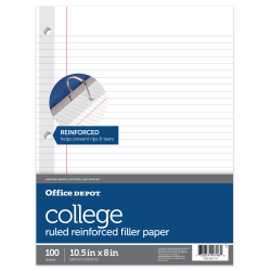 """Office Depot® Brand Reinforced Filler Paper, 8"""" x 10 1/2"""", College Ruled, White, Pack Of 100"""