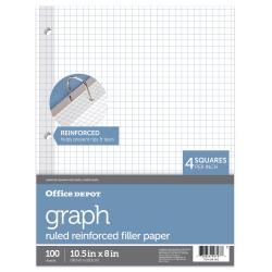 """Office Depot® Brand Reinforced Filler Paper, 8"""" x 10 1/2"""", 16 Lb, Quadrille Ruled, White, Pack Of 100"""