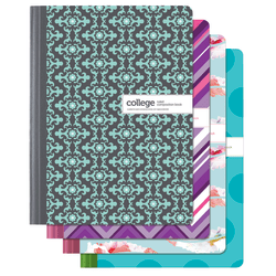 """Office Depot® Brand Fashion Composition Notebook, 7 1/2"""" x 9 3/4"""", 1 Subject, College Ruled, 80 Sheets, Assorted Designs (No Design Choice)"""