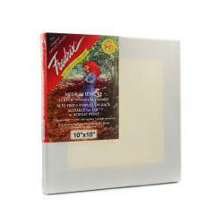 """Fredrix Red Label Stretched Cotton Canvases, 10"""" x 10"""" x 11/16"""", Pack Of 3"""