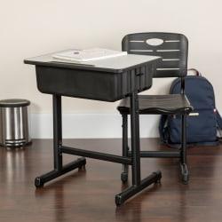 Flash Furniture Adjustable Pedestal Frame Student Desk And Chair, Gray