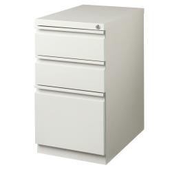 """WorkPro® 27-3/4""""D Vertical 3-Drawer Mobile Pedestal File Cabinet, Metal, Light Gray"""