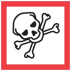 "Tape Logic® Pictogram Labels, DL4248, Skull And Crossbones, Square, 2"" x 2"", Red/White/Black, Roll Of 500"