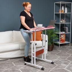 """Mind Reader 27""""W Mobile Sitting/Standing Desk, Pink"""