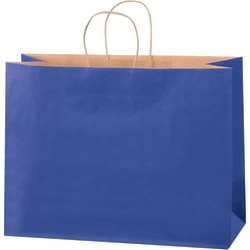 """Partners Brand Tinted Shopping Bags, 12""""H x 16""""W x 6""""D, Parade Blue, Case Of 250"""