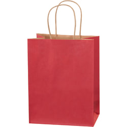 """Partners Brand Tinted Shopping Bags, 10 1/4""""H x 8""""W x 4 1/2""""D, Scarlet, Case Of 250"""