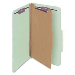 "Smead® Classification Folders, Pressboard With SafeSHIELD® Fasteners, 1 Divider, 2"" Expansion, Legal Size, 60% Recycled, Gray/Green, Box Of 10"