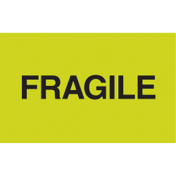 """Tape Logic® Preprinted Shipping Labels, DL2421, """"Fragile"""", 3"""" x 5"""", Fluorescent Green, 500 Per Roll"""