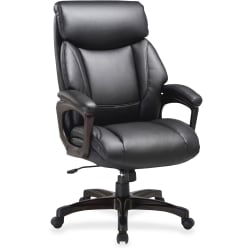 Lorell® Executive Soft Seat Bonded Leather Chair, Black/Espresso