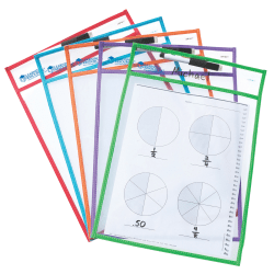 """Learning Resources® Magnetic Whiteboard Storage Pockets, 11"""" x 8"""", Blue, Pack Of 2"""
