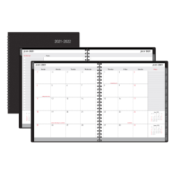 """Office Depot® Brand 18-Month Weekly/Monthly Academic Planner, 6"""" x 8"""", 30% Recycled, Black, July 2021 To December 2022, ODUS2033-016"""