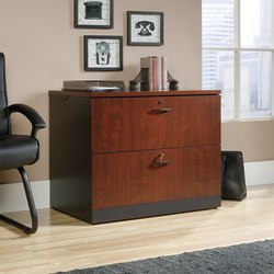 "Sauder® Via 36""W Lateral 2-Drawer File Cabinet, Classic Cherry/Soft Black"