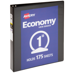 """Avery® Economy View Binders With Round Rings, 8 1/2"""" x 11"""", 1"""" Rings, Black"""