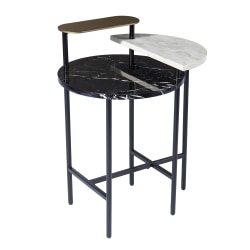 "SEI Arcklid Faux Marble End Table, 28-1/4""H x 22""W x 18""D, Black/Gold/White"