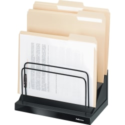 "Fellowes Designer SuitesStep File® - 6 Compartment(s) - Compartment Size 1"" - 10.5"" Height x 11.1"" Width x 7.1"" Depth - Desktop - Black, Pearl - 1 Each"