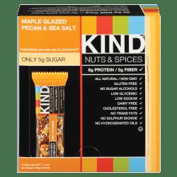 KIND Maple Glazed Pecan And Sea Salt Nut And Spice Bars, 1.4 Oz, Box Of 12