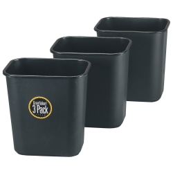 """Rubbermaid® Rectangular Plastic Trash Can, 7 Gallons, 15""""H x 14-1/2""""W x 10-1/2""""D, Black, Pack Of 3 Cans"""