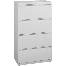 "Lorell® Fortress 36""W Lateral 4-Drawer File Cabinet, Metal, Light Gray"