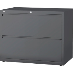 """Lorell® 36""""W Lateral 2-Drawer File Cabinet, Metal, Charcoal"""