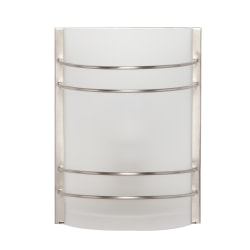 "Southern Enterprises Joseph Indoor LED Wall Sconce, 10""H, White Shade/Brushed Nickel Base"