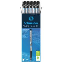 Schneider Slider XB Viscoglide Ballpoint Pens, Extra Bold Point, 1.4 mm, Assorted Barrels, Black Ink, Pack Of 10