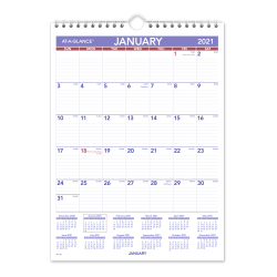 """AT-A-GLANCE® Mini Monthly Wall Calendar, 8"""" x 11"""", January To December 2021, Blue/Red/White, PM128"""