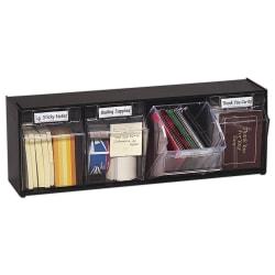 Deflect-O® Tilt Bin Plastic Storage System With 4 Bins, Medium Size, Black
