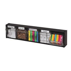 Deflect-O® Tilt Bin Plastic Storage System With 5 Bins, Medium Size, Black