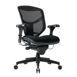 WorkPro® Quantum 9000 Series Ergonomic Mesh/Fabric Mid-Back Chair, Black/Black