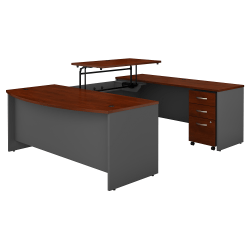 """Bush Business Furniture Components 72""""W 3 Position Sit to Stand Bow Front U Shaped Desk with Mobile File Cabinet, Hansen Cherry/Graphite Gray, Premium Installation"""