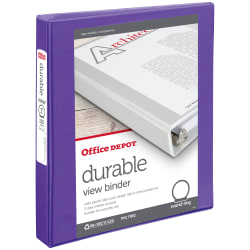 """Office Depot® Brand Durable View Round-Ring Binder, 1"""" Rings, Purple"""