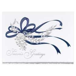 """Custom Embellished Holiday Cards And Foil Envelopes, 7-7/8"""" x 5-5/8"""", Pine Cone In Silver, Box Of 25 Cards"""