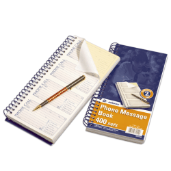 """Adams® Phone Message Books, 11"""" x 5 1/2"""", 100 Pages, White/Canary Yellow, Pack Of 5"""