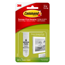 3M™ Command™ Damage-Free Picture Hanging Strips, Medium, Pack Of 6 Strips