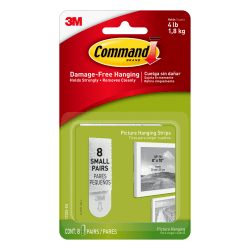 3M™ Command™ Damage-Free Picture Hanging Strips, Small, Pack Of 16 Strips