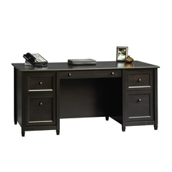"Sauder® Edge Water 66""W Executive Desk, Estate Black"