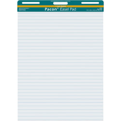 """Pacon Ruled Easel Pads - 50 Sheets - Stapled/Glued - Front Ruling Surface - Ruled - 1"""" Ruled - 27"""" x 34"""" - White Paper - Chipboard Cover - Perforated, Bond Paper - 50 / Pad"""