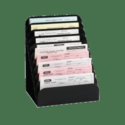 "MMF Industries Steel Cashier Pad Rack, 10-Pocket, 11"" x 8"" x 6 3/4"", Black"