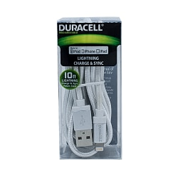 Duracell® Fabric Lightning Cable, 10', White, LE2235